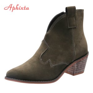 Aphixta Big Size 43 Holz Heels Damen Stiefel Nubuk Zip Spitzschuh Retro Fashion Herbst Stiefeletten 6cm Ferse Winterschuhe Frauen