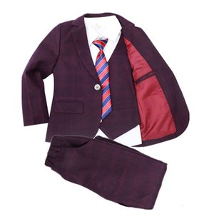 Boys Formal Tuxedo Wedding Suit Set Kids Blazer Vest Pants 3pcs Clothing Set School Children Teens Performance Costume Outfits