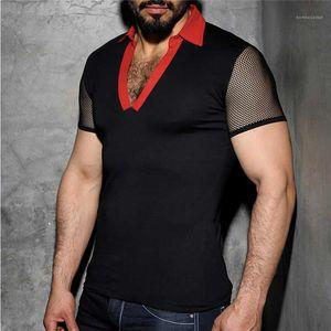 Sleeved Yaka Boyun Tshirts Moda Erkek Tees Kasetli Erkek Tasarımcı Casual Mesh Kulübü İnce Kısa tişörtleri