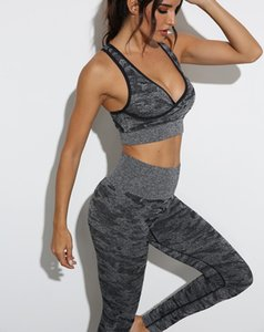 Camouflage Tracksuits Sexy Womens Yoga Outfits Suit Pants Gymshark Piece V-Neck Fitness Designer Gym Set Leggings Two Bra Sportwear Run Hsrg