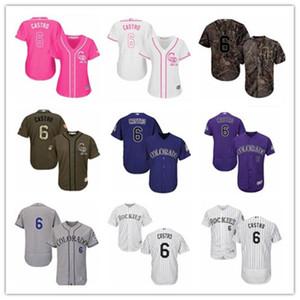 Gewohnheit Colorado Colorado Rockies 6 Daniel Castro T-Shirt, Rockie Baseball Wear Männer Jugend Frauen Trikots schnelles Verschiffen