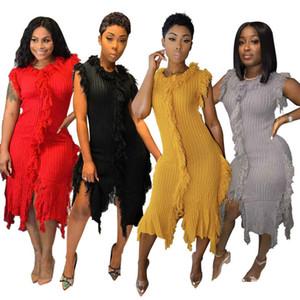 Frauen Casual Strickkleid Asymmetrische Mid-Kalb Fest reine Farben-Troddel-Kleid Bodycon Herbst Mode Ärmel 2020 neuer Großverkauf