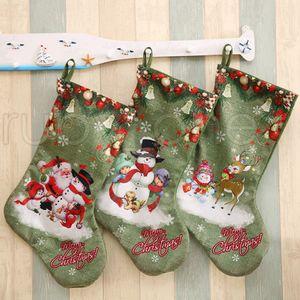 Christmas Large Stockings Snowman Santa Claus Printing Candy Gift Bags Holders Xmas Socks Hanging Ornaments Christmas Decorations RRA3524