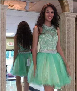Mint Green Backless Sequins New Designer Short Graduation Party Prom Gowns 2020 Mint Green Two Piece Dresses Homecoming Dreses