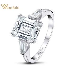 Wong дождь 925 Sterling Silver Emerald Cut Создано Муассанит Gemstone помолвки Обручальные кольца Бриллианты Fine Jewelry оптом