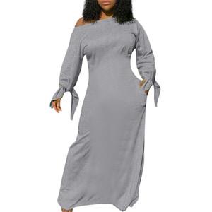 Femmes Oblique Robe épaule manches longues Faire un nœud en vrac de poche Robes Famale Vêtements Solid Color