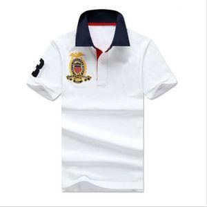 2019 uomini casual polo camicia grande cavallo ricamo solido polos homme estate 100% cotone golf tennis tees t-shirt abbigliamento da uomo in jersey vestiti bianco