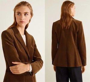 Frauen Luxury Coats Vintage Women Corduroy-Mantel-Winter-Modedesigner-Revers-Ausschnitt Brown dünne Klage-Oberbekleidung