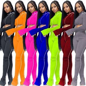 Frauen-Fall-Kleidung 2 zwei Stück Trainingsanzüge unregelmäßige Spalt lange Ärmel Tops Hosen Sportanzug Outfits Sets Sportbekleidung Bekleidung legging