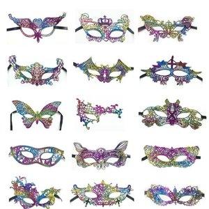 Lace Половина маски для лица Красочного Золота Stamp Женщина Танец кружево маски маскарадных масок Красочного Костюм партия Принадлежности для Рождества OWC1099