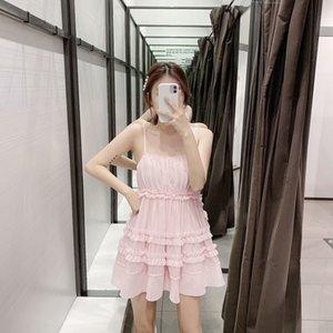 PIV2L Hang / 2788TT Fairy Spring New Pink Long Dulce Suspender Sling Sling Skirt Gauze Stitching Super Suspender Vestido 2020 Falda