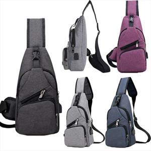 NoEnName Anti theft Mens USB with Charger Port Outdoor Sport Chest Bag Crossbody Shoulder Bag Men Women Backpack Messenger Pack
