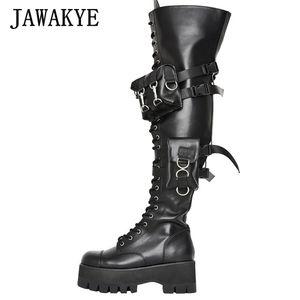 Seksi Kemer Stretch Pantolon Boots Kadınlar Punk Uyluk Yüksek Nightclub Ayakkabı Cep Siyah Deri Combat Boots Gothic Platform Ayakkabı Kadın