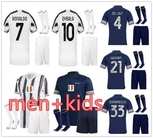 Juventus Kit Adulte + Enfant 20 21men + kids Ronaldo  maillot de football ensemble de Ligt le football short chaussettes BONUCCI CHIELLINI Camiseta de Fútbol