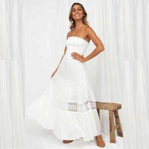 Tatlı Modelleri Kadın Yaz Maxi Elbiseler Saf Beyaz Sarılı Göğüs Yaz Kadın dizayn edilmiş elbiseler Hollow Out Kolsuz Straplez