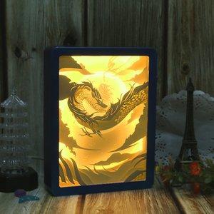 크리에이티브 중국 스타일 활동 선물 3D 빛과 그림자 종이 컷 라이트 박스 사용자 정의 로고 스테레오 오버레이 DIY 침실 밤 빛