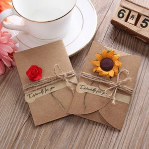 Flower Greeting Card Valentine's Day Kraft Paper Artificial Flower Greeting Card Event Party Cards Invitations