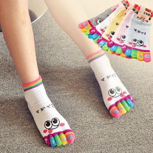 Septhydrogen Brand Designer Hot Sale Children Girl Smile Face Cute Funny Five Fingers Trainer Rainbow Color Toe Ankle Little Socks