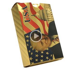 الرئيس الامريكي دونالد ترامب 24K الذهب اللعب بطاقات بوكر لعبة بوكر الطابق الذهب احباط تعيين البلاستيك بطاقة سحرية للماء بطاقات ماجيك إيريكا