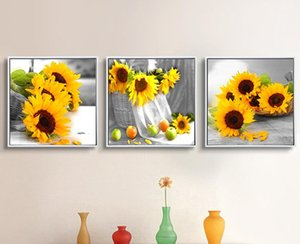 Modern Home Decor Wall Paintings Set Yellow Sunflower On Desk Floral Art Canvas Prints 3 Piece Set Still Life Pictures No Frame