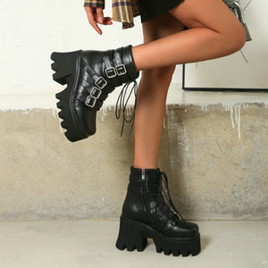 2021 Winter Women Shoes Black PU Leather Punk Shoes Platform Motorcycle Boots Boots Platform Large Size 35-43