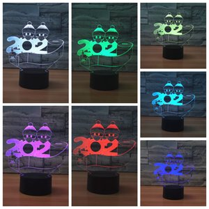 Family LED Lights Christmas Ornament DIY 3D Nightlight Colorful USB Battery 2020 Mask Christmas Snowman Personalized lights CYF4449