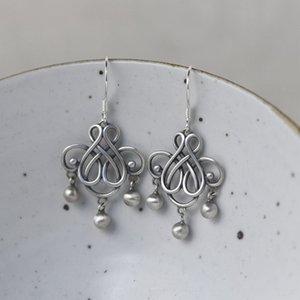 Oro Cervo Re S925 opaco delle donne d'argento di buon auspicio cinese Knot Tassel nodo cinese e orecchini orecchini