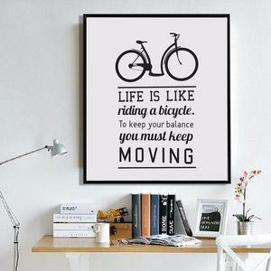 Bike Motivation Zitate Das Leben ist Fahrrad Leinwand-Malerei-Plakat-Wand-Kunst Leinwanddrucke Wandbilder für Wohnzimmer Wohnkultur
