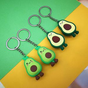 Silicone Avocado Heart-shaped Keychain Women Key Chain Cute Anime Cartoon Kids Key Ring Gift 2 styles AAB1783