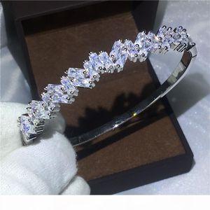 Vecalon Bijoux romantique 5A zircone cubique engagement bracelet en or blanc Baguette Rempli femmes bracelet manchette accessaries mariage