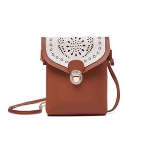 Crossbody Bags For Women 2018 New Fashion Flap Mini Pink Bag Hollow Out Flower Pattern Shoulder Bag Leather Phone Messenger Bags Desig u3C1#