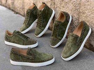 أحذية سوبر نوعية الرجال الحمراء أسفل أوم رياضة، Luxuey - ماركات أحذية الجيش الأحمر نعال الأخضر الجلد المدبوغ جلدية حقيقية السامي الأعلى / منخفض / متعطل