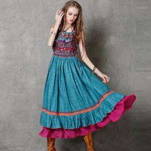 Kadın Elbiseler Boho Hippi Vintage Milli Bayan Elbise Dans Swaying Uzun Elbiseler Yaz Baskılı Tasarımcı