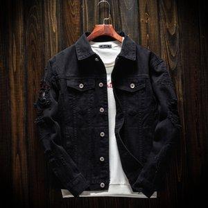 Erkek ilkbahar ve sonbahar gevşek kot çift uzun siyah Ceket kol klip ceket üst sleeve