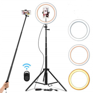 "9"" Holder selfie Light Ring dimmerabili basamento del treppiedi del telefono cellulare Mini Led Camera Ringlight per il trucco YouTube Fotografia Video"
