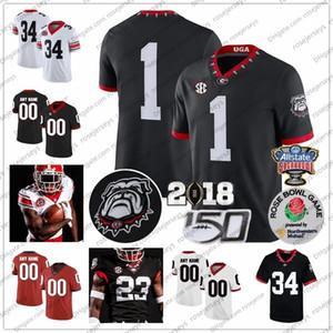 Personnalisé Georgia Bulldogs Football Jersey 2019 UGA Blankenship Fromm Swift George Pickens Herrien Cager Blaylock Zamir Blanc Rouge Noir 150E