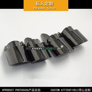 Bir Çifti 304 Paslanmaz Çelik 2015-2019 Titanyum Siyah 3.0T 3.6T için Macan Egzoz İpucu Susturucu Kuyruk Memeleri için 4 Çıkışlı Güncelleme