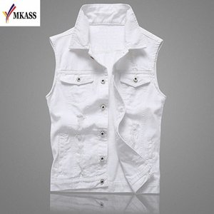 MKASS Vintage Design Veste Denim Homme Homme Couleur Blanc Slim Fit manches Vestes Homme trou Brand Jeans Taille Plus Waistcoat 5XL ACL1 #