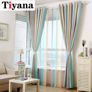 Tiyana Elegante multi banda di colore tende Living Sheer Camera Qualità tenda Decor P391D2 Y200421