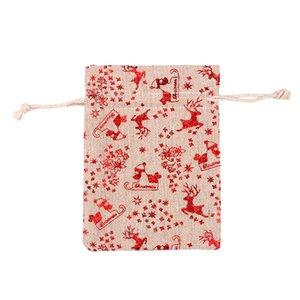 재고 크리스마스에 크리스마스 코튼 리넨 가방 사탕 가방 크리스마스 선물 가방에게 무료 배송 10 * 14cm 레드 스타 블루 황금 장식으로 이루어져