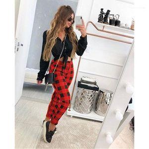 Dames Pantalons Crayon Mode Femmes Pantalons Designer Plaid Contraste d'impression couleur Femmes Pantalon Skinny Casual