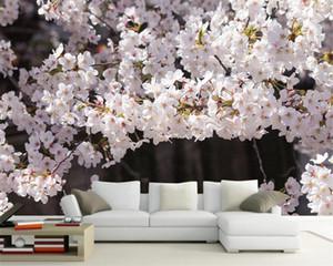 Romantique Floral Fond d'écran 3D Belle Cherry Blossom HD Paysage Simple Nordic Moderne Décoration murale Soie Fond d'écran