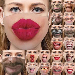 Komik 3D İnsan Yüz Toz geçirmez Moda Baskı Pamuk Maskeler Yıkanabilir Yeniden kullanılabilir Bisiklet Maske Tasarımcı Lüks Yüz DHE612 Maskesi