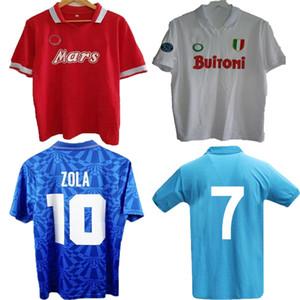 82 83 86 87 88 88 89 91 93 Retro Napoli Home Fussball Jersey Classic Hemden 1987 1988 1989 Neapel Away Red Maradona Retro Blue Football Hemd