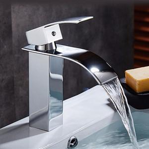 Xueqin Chrome Latão bacia banheiro torneira da cachoeira vaidade do banheiro torneira torneiras misturadoras pia vaso