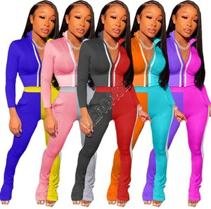 Women Tracksuit Designers Constrast Color Patchwork Zip Jackets Crop Top Coat Reflective Stripe Pants Long Sleeved Outfits Two Piece D9107