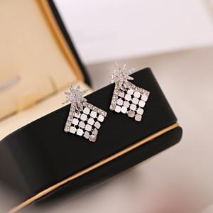 Korean new style hot sale fashion 18k gold plated high quality earrings temperament women luxury high-end zircon earrings brand jewelry