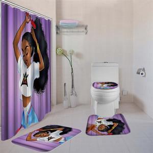 4PCS / طقم حمام مع دش الستار فاخرة فتاة أمريكية الأفريقي دش الستار حمام البساط مجموعات غطاء المرحاض حصيرة حمام مجموعة