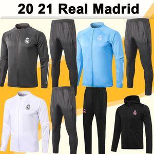 20 21 Real Madrid Full Zip Jacke Shirts Anzug GEFAHR MARIANO KROOS BENZEMA Sapphire Blau Grün Schwarze Jacke Set Trikots Hosen Top