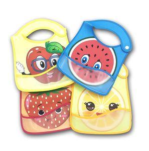 Infant Bavaglino neonato panni del Burp Feeding Anti-sporco impermeabile riutilizzabile tovagliolo della saliva Environmentally Friendly PU Carino Frutta Bib Pinafores E8603